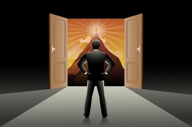 Векторная иллюстрация бизнесмена, смотрящего на звезду на пике горы из открытой двери