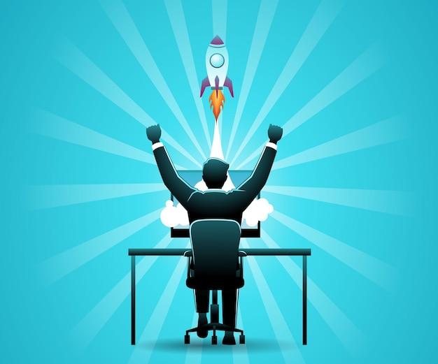컴퓨터 화면에서 로켓 폭발과 함께 컴퓨터 책상에 앉아 있는 사업가의 벡터 그림