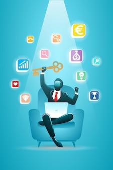 Векторная иллюстрация бизнесмена, сидящего на диване с ноутбуком и значком медиа, держа большой ключ