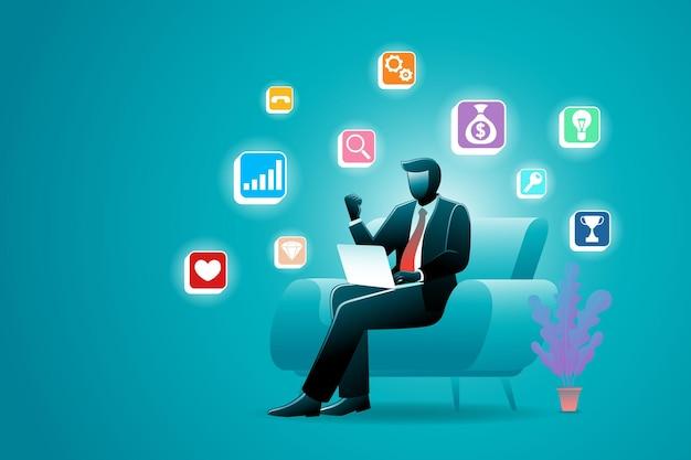 Векторная иллюстрация бизнесмена, сидящего на диване во время работы ноутбука с иконками средств массовой информации