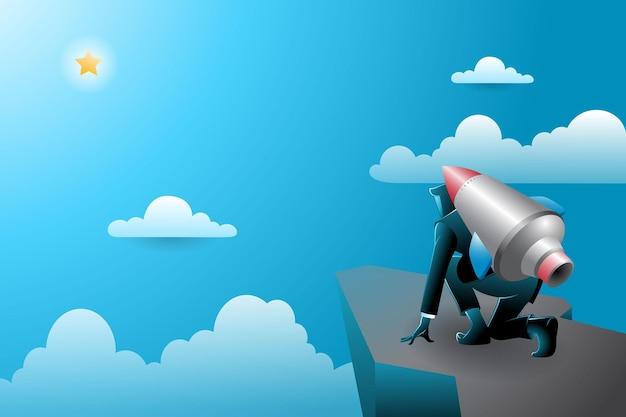 Векторная иллюстрация бизнесмена, стоящего на скале с ракетой, привязанной к его спине