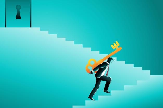 Векторная иллюстрация бизнесмена, идущего по лестнице, держа большой ключ на спине, чтобы открыть дверь Premium векторы