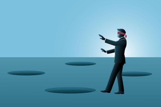 Векторная иллюстрация бизнесмена, идущего с повязкой на глазах среди дырочной ловушки