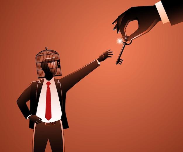 Векторная иллюстрация бизнесмена с птичьей клеткой, блокирующей его голову, затем большая рука дает ему ключ