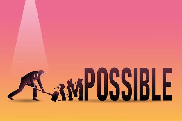 Векторная иллюстрация бизнесмена с молотком ударил невозможное слово, чтобы быть возможным