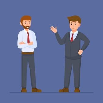 ビジネスマンのベクトル図青い背景に対して孤立して立っている2人の男性