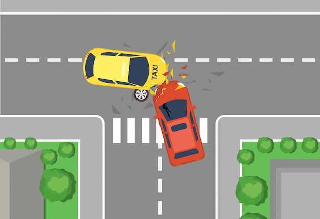 車の交通事故、平面図のベクトルイラスト。フラットな漫画スタイルの自動車事故の概念、黄色と赤の車の大破。