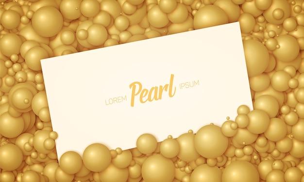 金色の真珠や球に配置されたカードのベクトルイラスト。体積ランダムに分布したボール。オレンジ色のボールの背景から構築された表面。高級カードのモックアップ、テンプレート。
