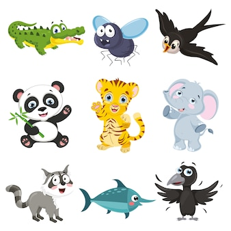 Векторная иллюстрация мультяшный животных коллекции