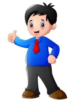Векторная иллюстрация мультфильм бизнесмен дает большие пальцы вверх