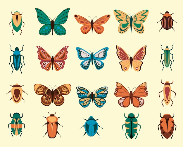 만화 나비와 버그 흰색 배경에 고립의 벡터 일러스트 레이 션. 초록 나비, 화려한 비행 곤충.