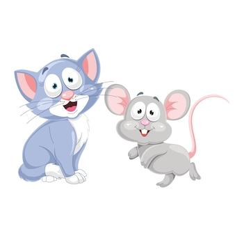 Векторная иллюстрация мультяшный кот и мышь