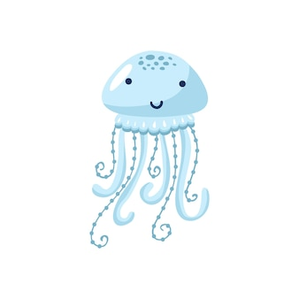 Векторная иллюстрация мультяшный смешной медузы, изолированные на белом фоне. симпатичное животное, персонаж морского животного, используемый для журнала, книги, плаката, открытки, приглашения для детей, веб-страниц.