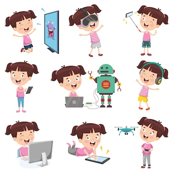 Векторная иллюстрация мультяшныйа девушка делает различные мероприятия