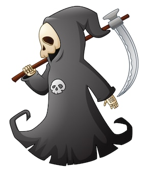 Vector illustration of Cartoon grim reaper with scythe