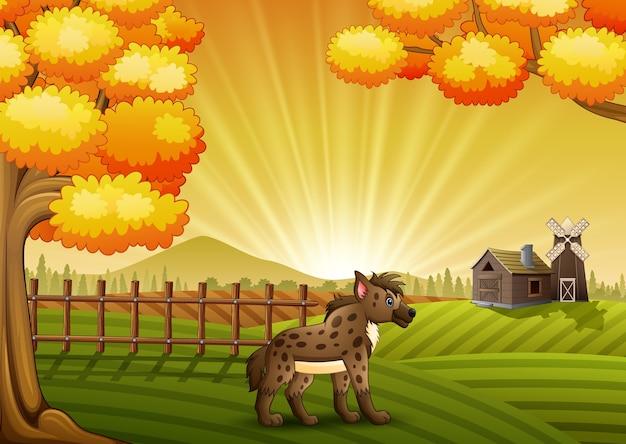 Векторная иллюстрация мультфильм гиены в ферме фон
