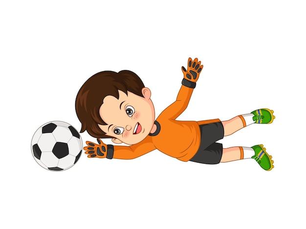 Векторная иллюстрация мультяшного маленького мальчика, ловящего футбольный мяч