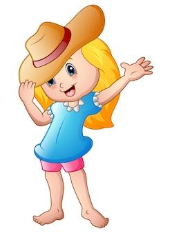 Векторная иллюстрация мультфильм маленькая девочка в летней шляпе