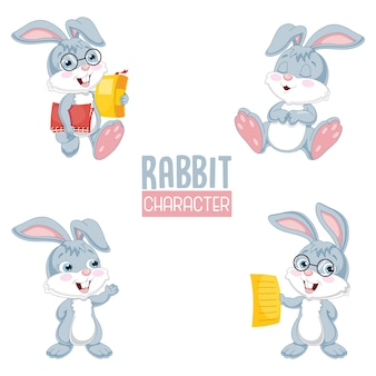 Векторная иллюстрация мультфильм кролика