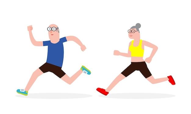늙은 여자, 남자를 실행하는 만화의 벡터 일러스트 레이 션. 만화 캐릭터. 노인 활동. 벡터 체육관 또는 야외 건강한 라이프 스타일. 흰색 배경에 운동 스포츠 성인 노인