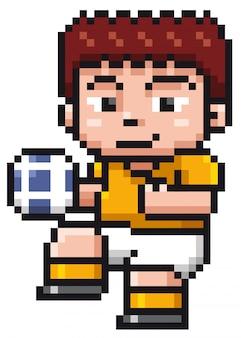 Векторная иллюстрация мультяшный футболист - пиксель дизайн