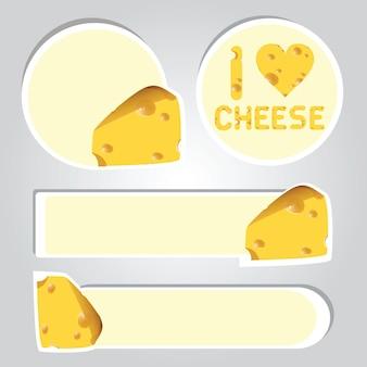 チーズの漫画のステッカーのベクトル図