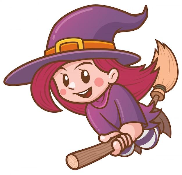 Векторная иллюстрация мультяшный ведьма летит на метле
