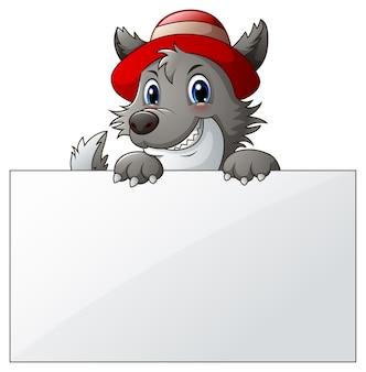 Векторная иллюстрация мультфильм волк с пустой знак