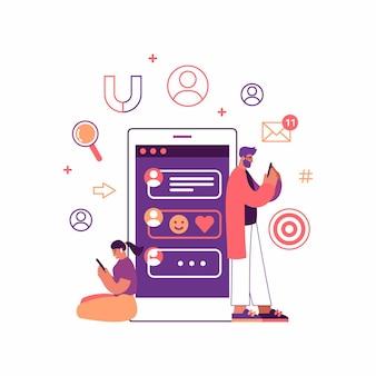 巨大なスマートフォンの近くに立っている間、現代のデジタルデバイスでソーシャルメディアを閲覧する漫画の若い男性と女性のベクトル図