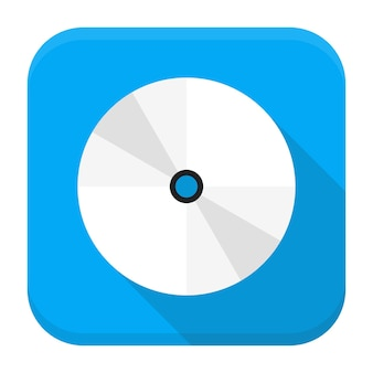 Векторная иллюстрация компакт-диска или dvd-диска. плоский квадратный значок приложения с длинной тенью.