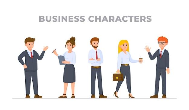 就職の面接のために集まったキャラクタービジネスマンオフィスワーカーのベクトルイラスト