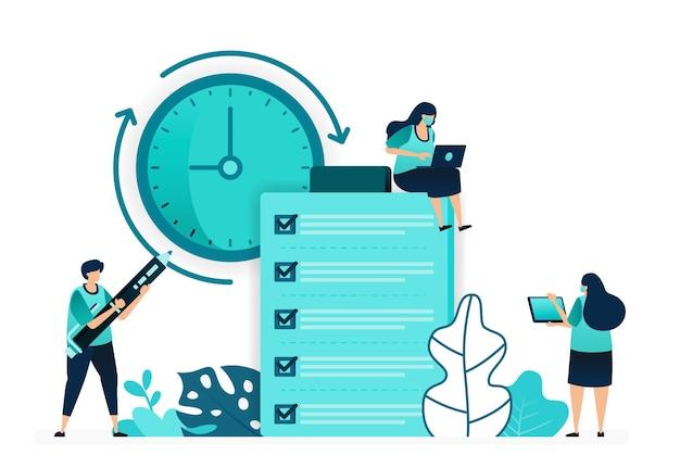 고객 의견 품질 및 적시성에 대한 검토 및 피드백에 대한 체크리스트의 벡터 일러스트 레이 션. 여성과 남성 노동자. 웹 사이트, 웹, 랜딩 페이지, 앱, ui ux, 포스터, 전단지 용으로 설계