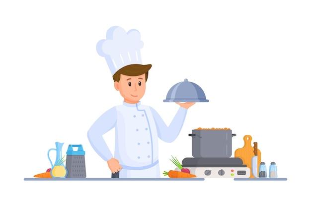 シェフの料理のベクトルイラスト。キッチンで料理。家での食事。ミニマリストスタイル。白い背景で隔離。