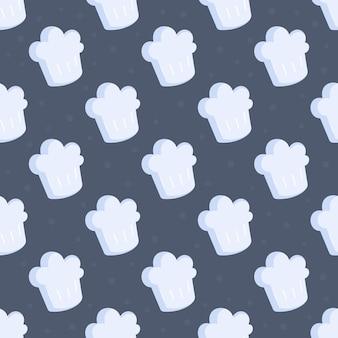 シェフの帽子のパターンのベクトルイラスト。白いシェフの帽子のパターンのシームレスなイラスト。青い背景に分離された漫画スタイルのシェフの帽子アイコン。