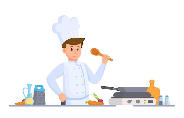 シェフのキッチンのベクトルイラスト。レストランの厨房での料理。料理長。おもてなし。鍋で焼く。