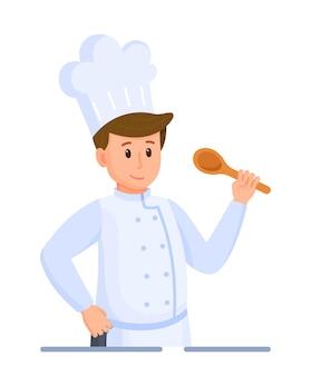 シェフのテイスティングのベクトルイラスト。白い背景の上のシェフ。キャップのシンボルまたはロゴのヘッドシェフ。総料理長がレストランで食事を作っています。