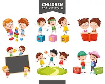 Vector Illustration Of Children Activities Set