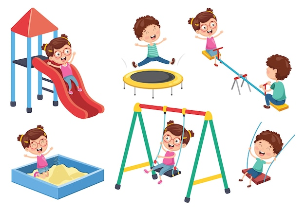 公園で子供たちのベクトル図