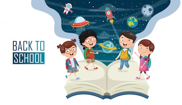 Векторная иллюстрация детей обратно в школу