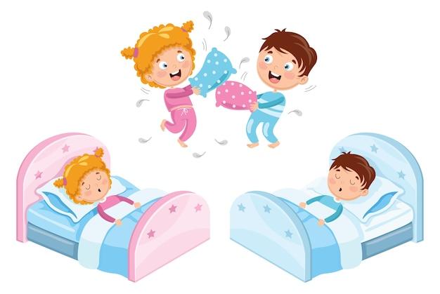 Векторная иллюстрация детей в пижаме