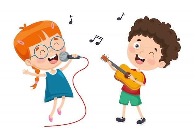 Векторная иллюстрация детской музыки