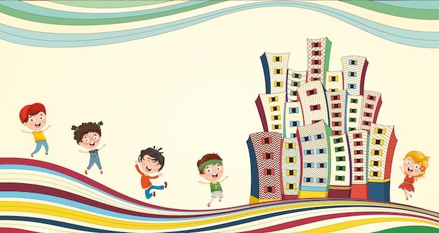 都市で遊ぶ子供たちのベクトル図