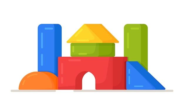 子供の立方体のベクトルイラスト。カラフルな木製のブロックのおもちゃ、建物のゲームセットの城と家。明るく美しいフィギュアで遊ぶ。