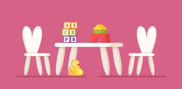 어린이 테이블의 벡터 그림입니다. 분홍색 배경에 격리된 두 개의 의자와 테이블. 어린이 가구. 개발 장난감이 있는 테이블: 큐브, 생성자 및 오리