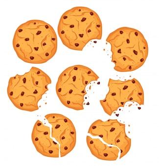 Векторные иллюстрации набора шоколадное печенье. овсяное печенье различной формы с шоколадными каплями и крошками