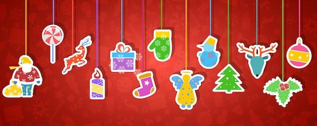 Векторная иллюстрация рождества и новогоднего фона