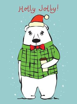 Векторная иллюстрация рождественский медведь и рождественские и новогодние поздравления. милый медведь в праздничной шапке в мультяшном стиле