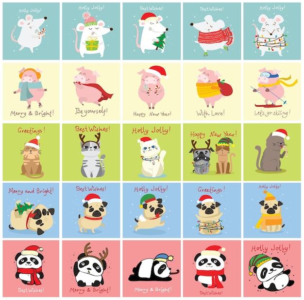 Векторная иллюстрация рождественских кошек, крыс, свиней и собак с рождественскими и новогодними поздравлениями, милыми ...