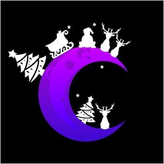 Векторная иллюстрация елки и санта-клауса на луне