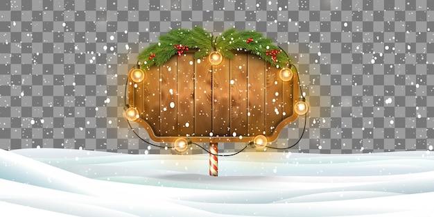 透明な背景にライトとクリスマス木製看板のベクトルイラスト